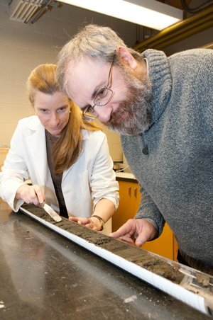 Checking core samples in the lab. Photo credit: Dan Anthon, Royal Roads University
